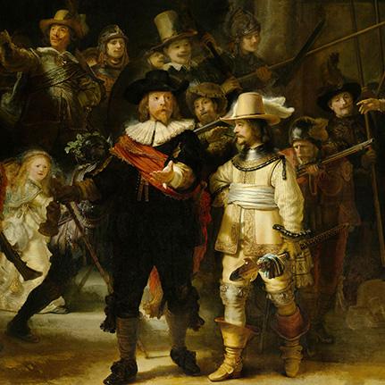 Kaart met envelop De Nachtwacht Rembrandt 14x14